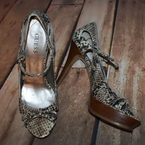 Guess Faux Snakeskin Heels